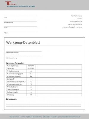 Datenblatt für Werkzeugkonzept